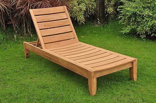 TeakStation Grade-A Teak Wood Luxurious Multi Position Atnas Sun Chaise Lounger Steamer – Furniture Only TSCHAT
