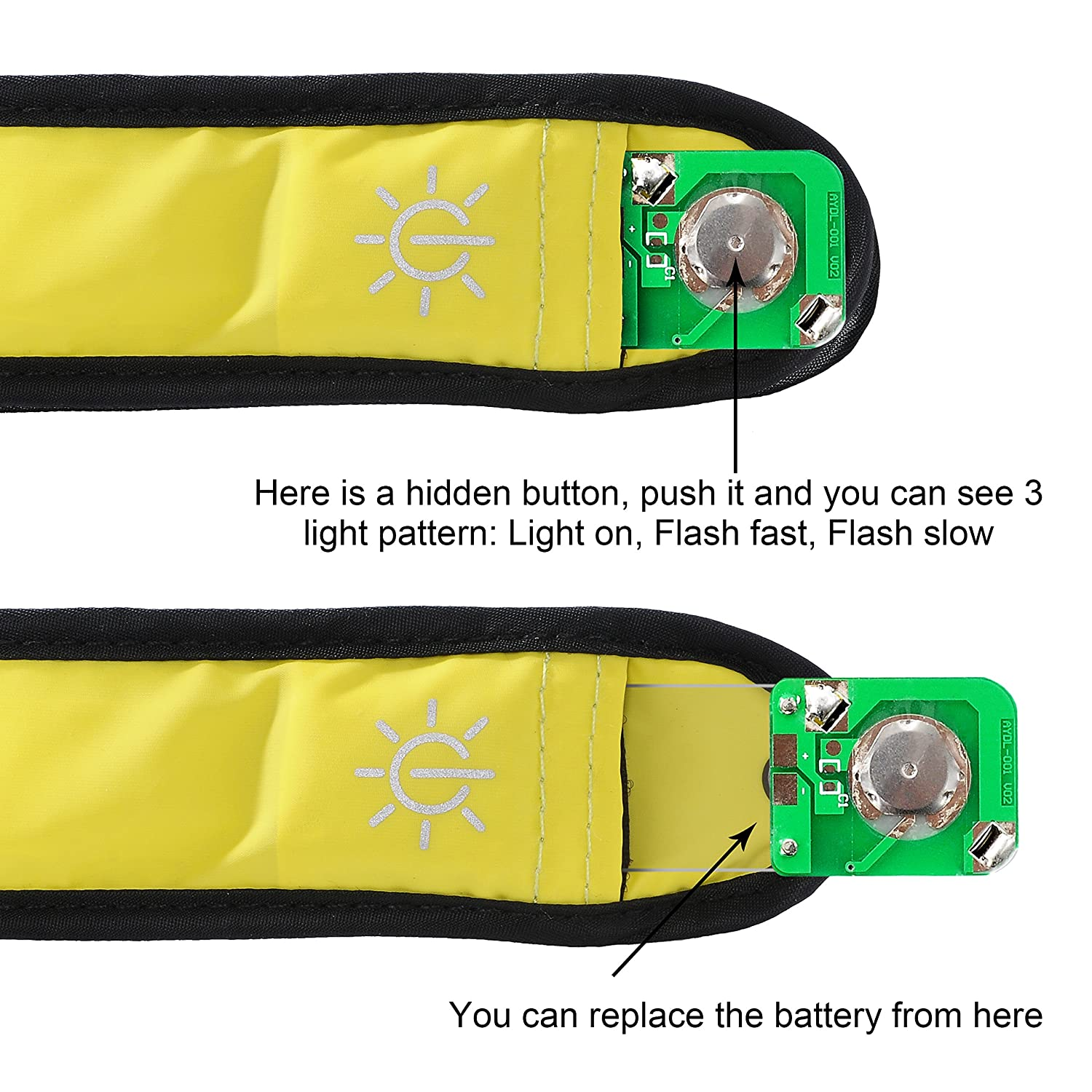 Techion 2 Pack LED Slap Armband//LED Snap on Bracelet with High Visibility for Cycling//Biking Walking//Jogging Running Gear