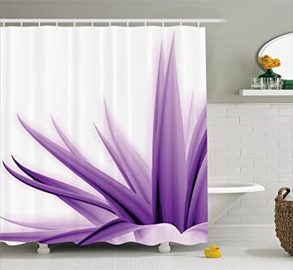 Ambesonne Flower Decor Shower Curtain Purple Ombre Long Leaves Water Colored Print With Calming Details Image Fabric Bathroom Decor Set With Hooks