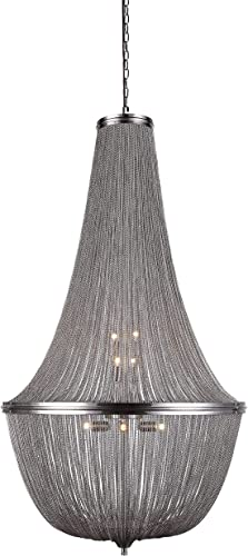 Elegant Lighting 1210D30PW Paloma Collection 10-Light Pendant Lamp, 30 Depth x 49.5 Height, Pewter Finish