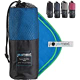 Journext Microfiber Towel for Beach, Travel, Hiking, Camping, Fitness, Backpacking, Ultra-Light, Anti-Bacterial, Quick Dry, S/M/L (Blue/Green, L: 180x90 cm)