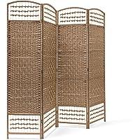 Relaxdays–Biombo Plegable de 4Paneles de bambú, Protege