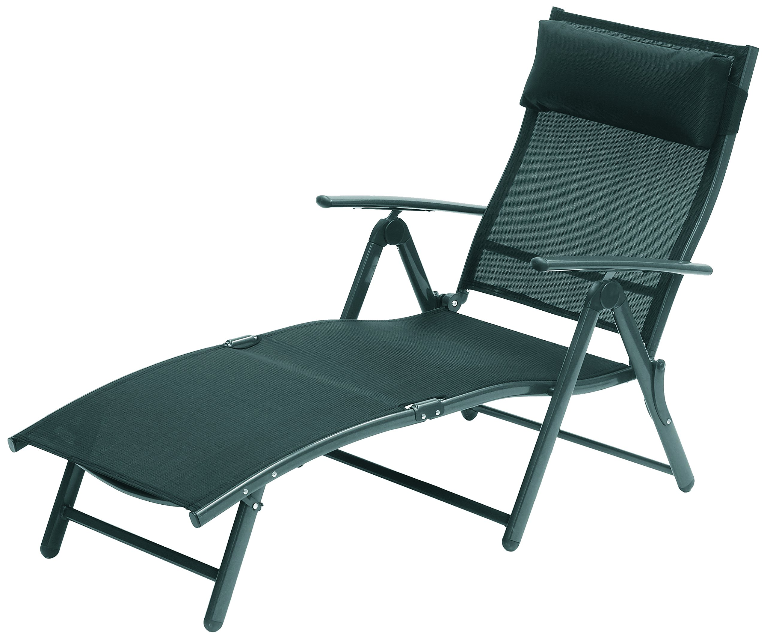 SunTime Havana Sunlounger, Black - Durable construction with weather resistant Text Ilene Five reclining positions Comfortable headrest cushion included - patio-furniture, patio-chairs, patio - 91DQKW19oRL -