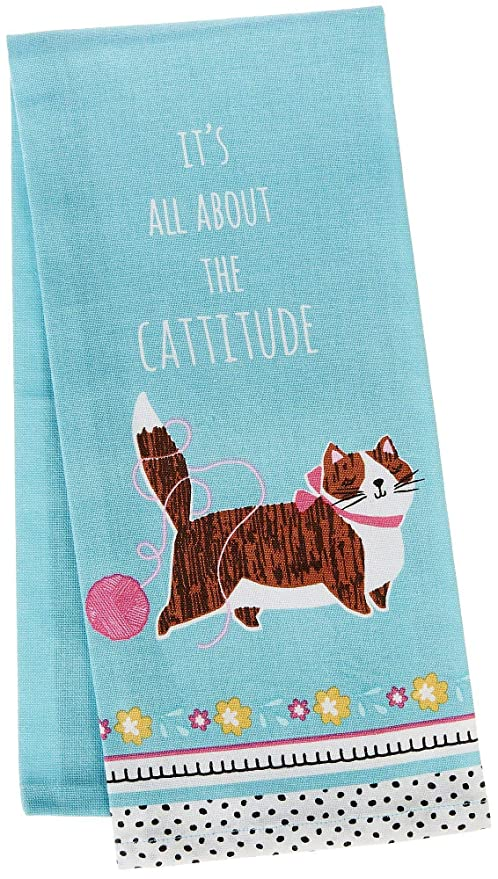 Cat Tea Towel Kay Dee Cattitude Pattern