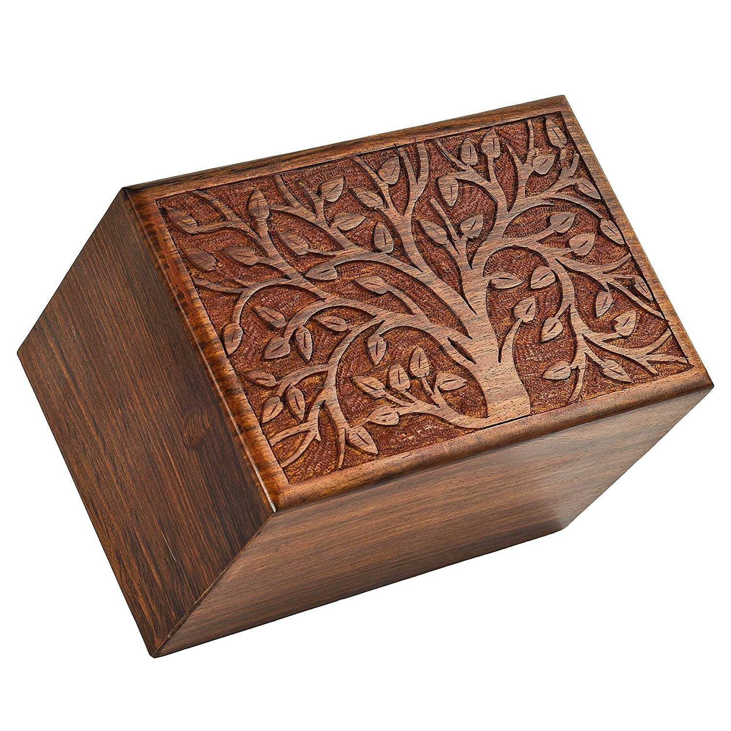Weight 9 x 6 x 6 Inh LxBxH Fine Craft India Tree Printed Beautifully Handmade /& Handcrafted Tree of Life Engrcaving Wooden Urns for Human Ashes Size 1060 Gram