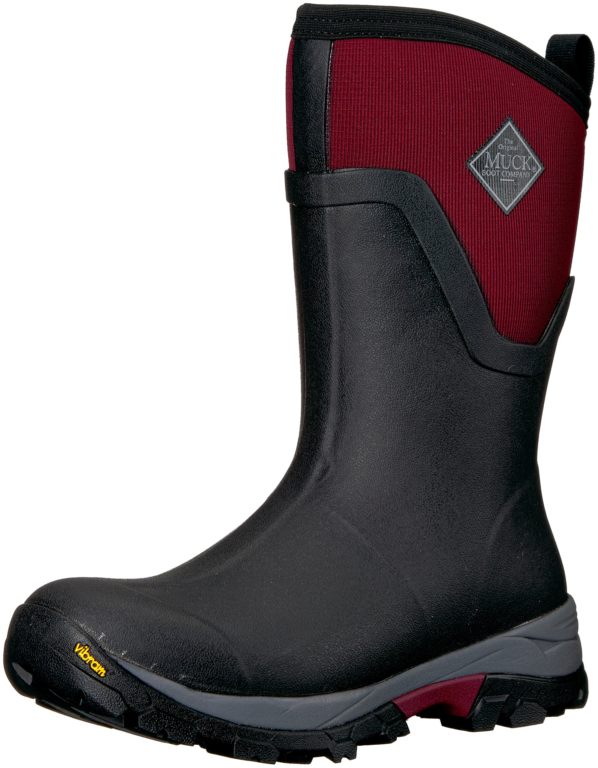 Muck Boot Women's Arctic Ice Mid Work Boot, Black/Windsor Wine, 10 M US