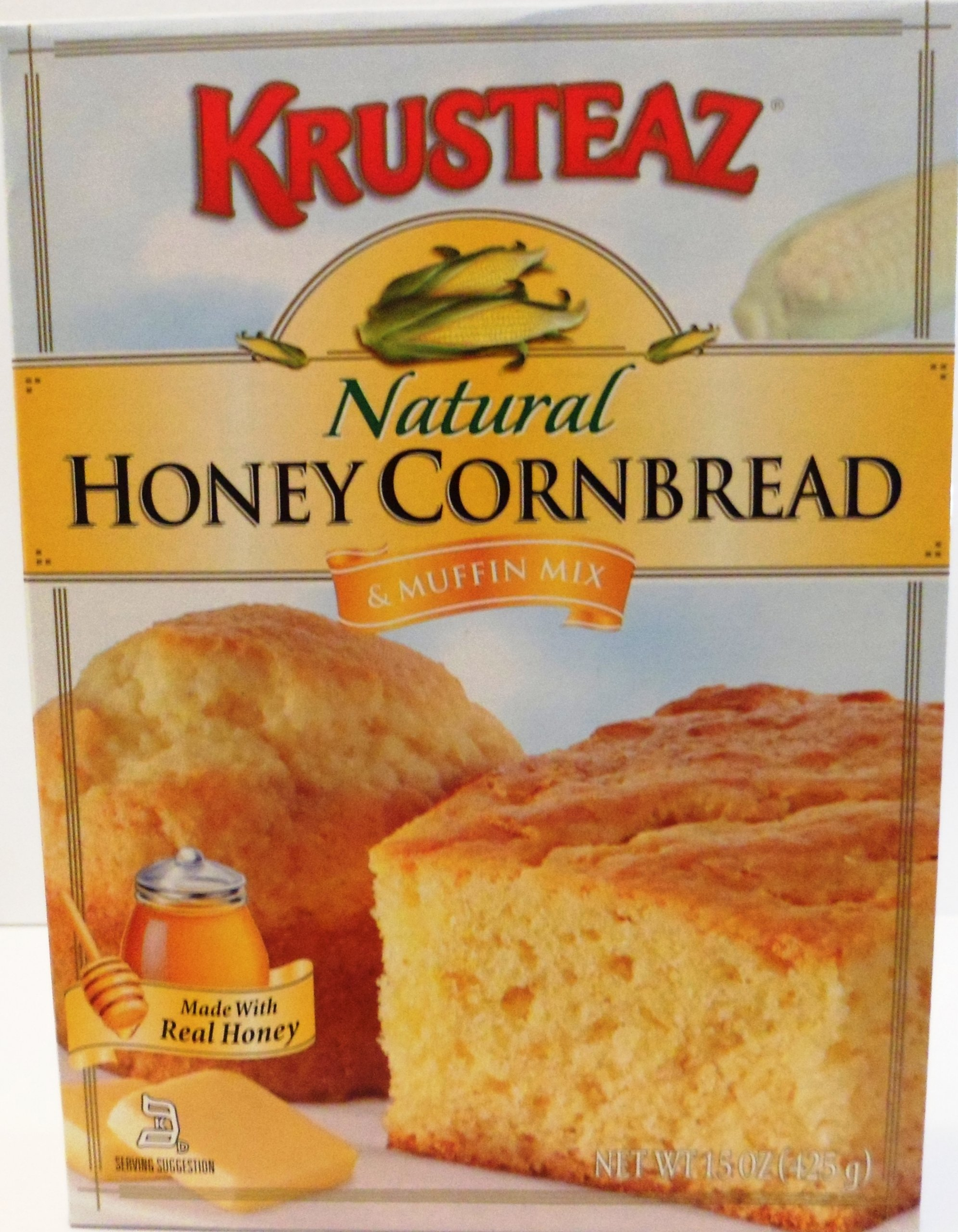 Krusteaz Natural Honey Cornbread & Muffin Mix 15 OZ (Pack of 6)