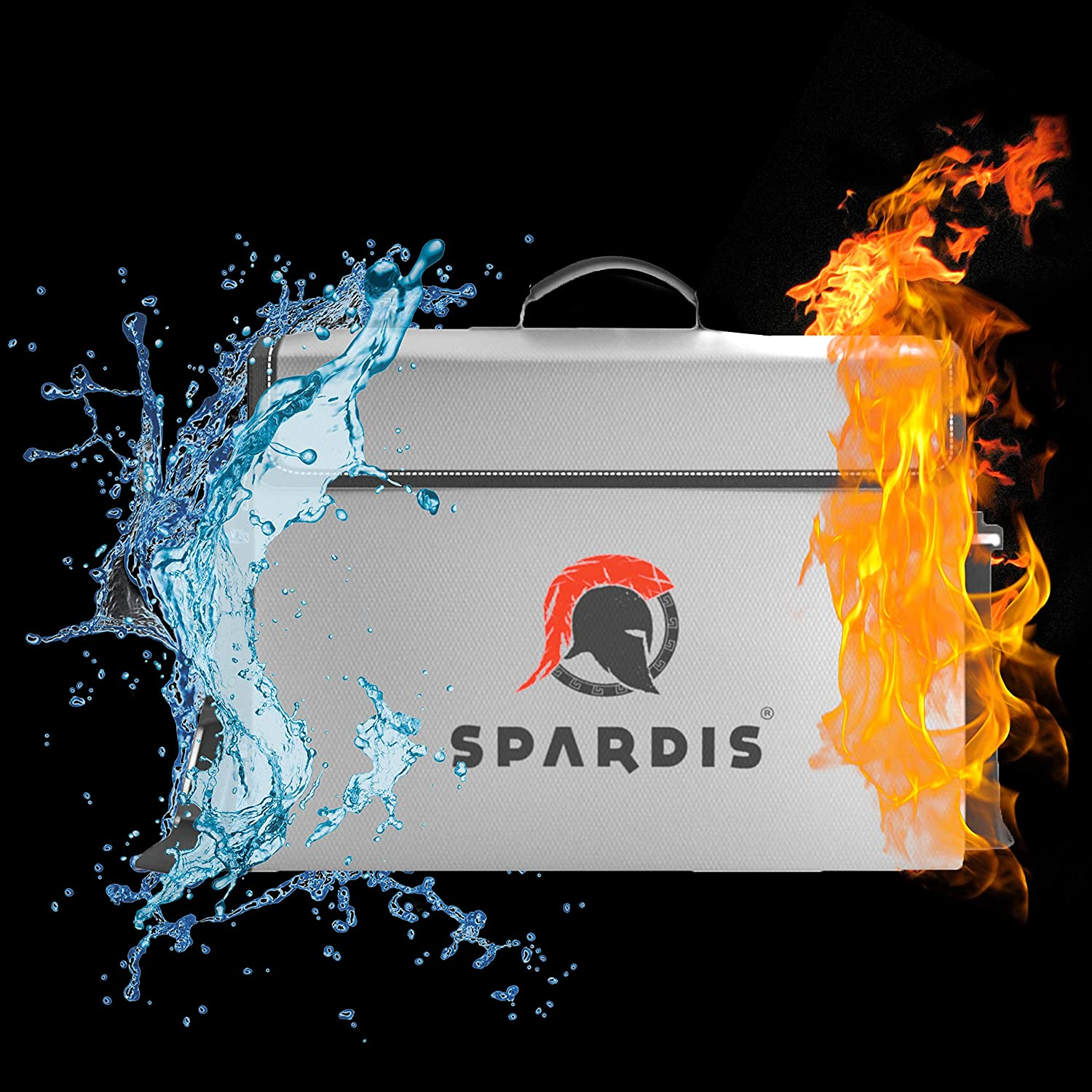 """16/"""" x 12/"""" x 3.5/"""" Spardis XXL Fireproof Document Safe Bag with Locking Zipper Heat Resistant to 2100 F Degrees with Dual Layer Silicone Coated Fiberglass and Heat Blocking Aluminum"""