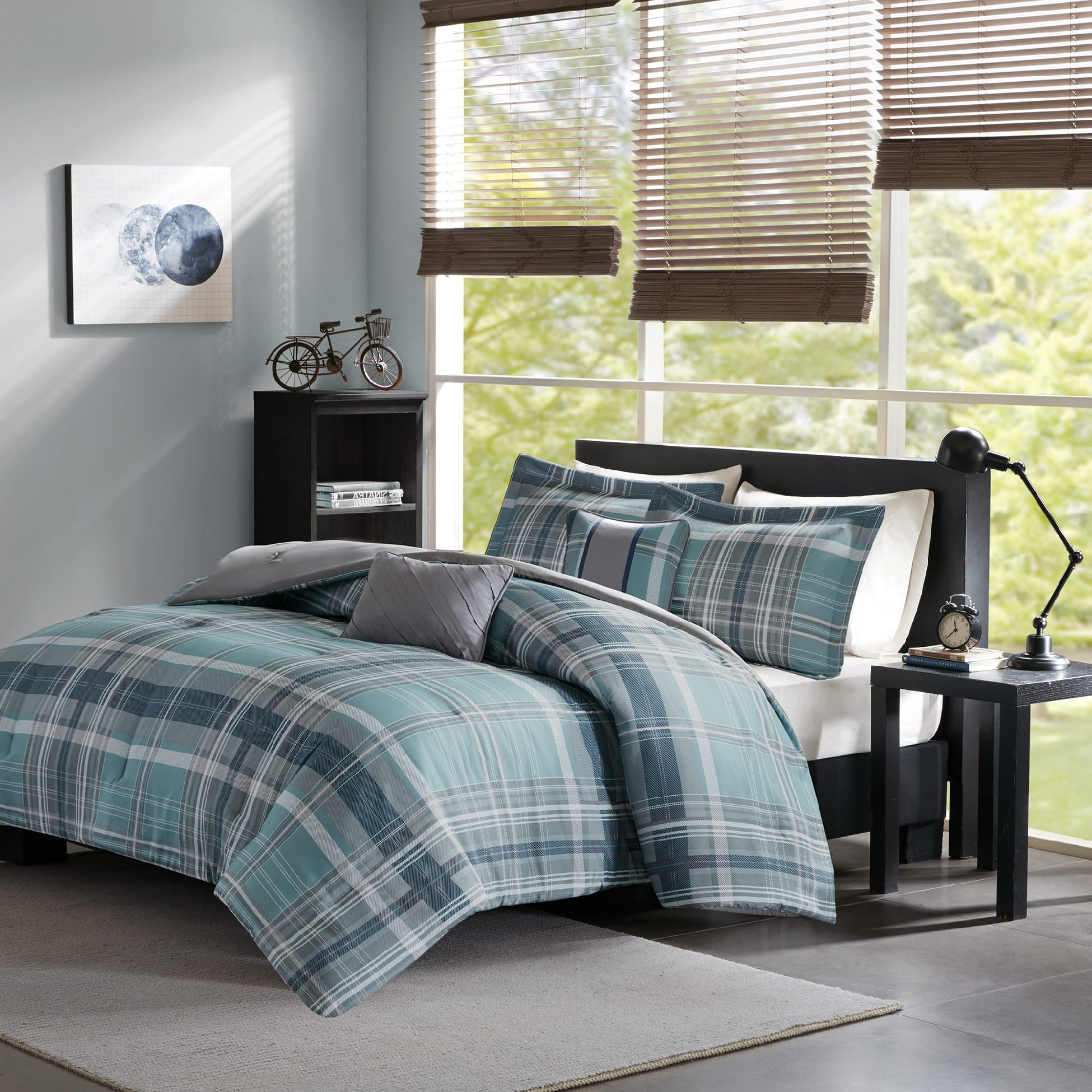 ID & DH Teen Boys Bedding Sets Kids 4 Piece Comforter Set Aqua Blue Gray Plaid Perfect for Home or Dorm Room Bundle Includes Bonus Pocket Flashlight form Switchback Outdoor Gear (Twin/Twin XL)