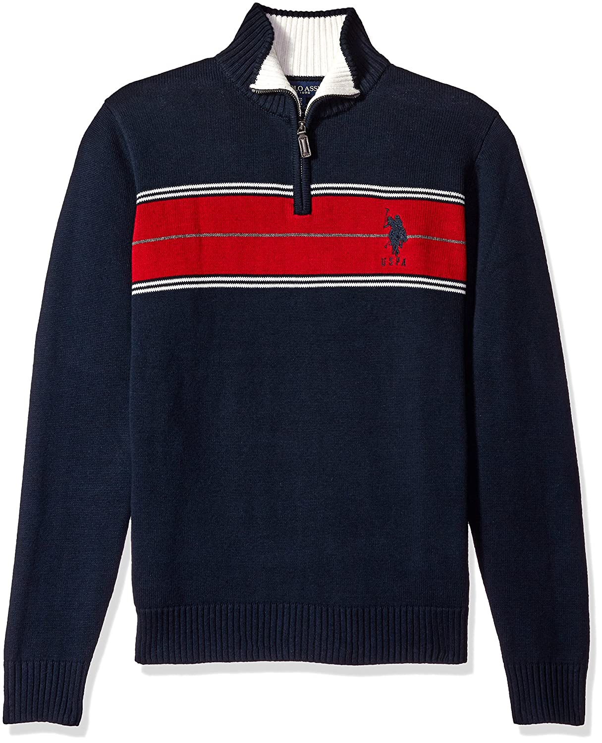 U.S. Polo Assn. Men's Chest Stripe 1/4 Zip Sweater at Amazon Men's ...