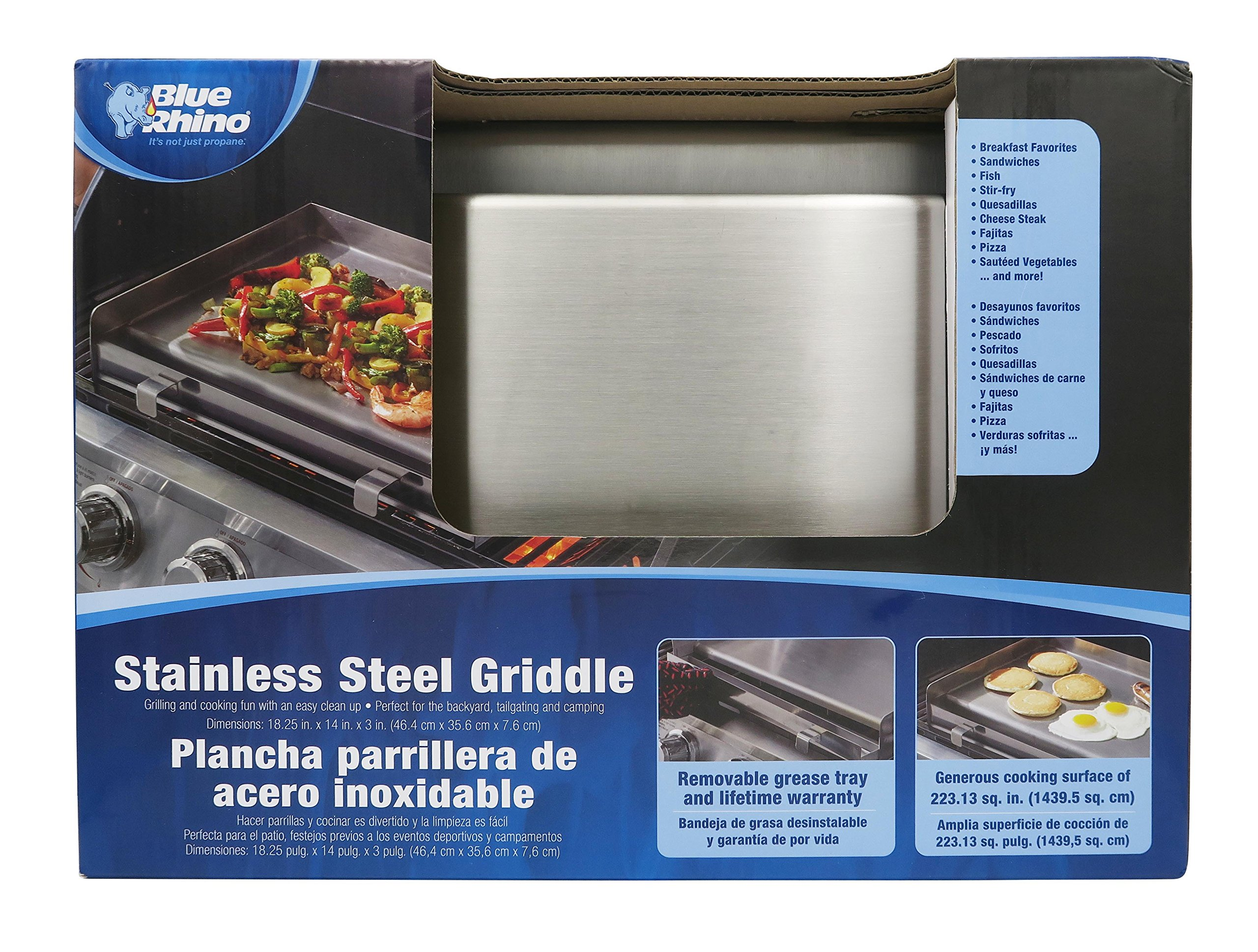 Mr. BBQ Portable Stainless Steel BBQ Griddle - Attach to your Grill or BBQ - Built in Grease Trough - Ideal for Tailgating, Backyard Parties and Camping - Make Eggs, Pancakes, or Bacon on the Grill