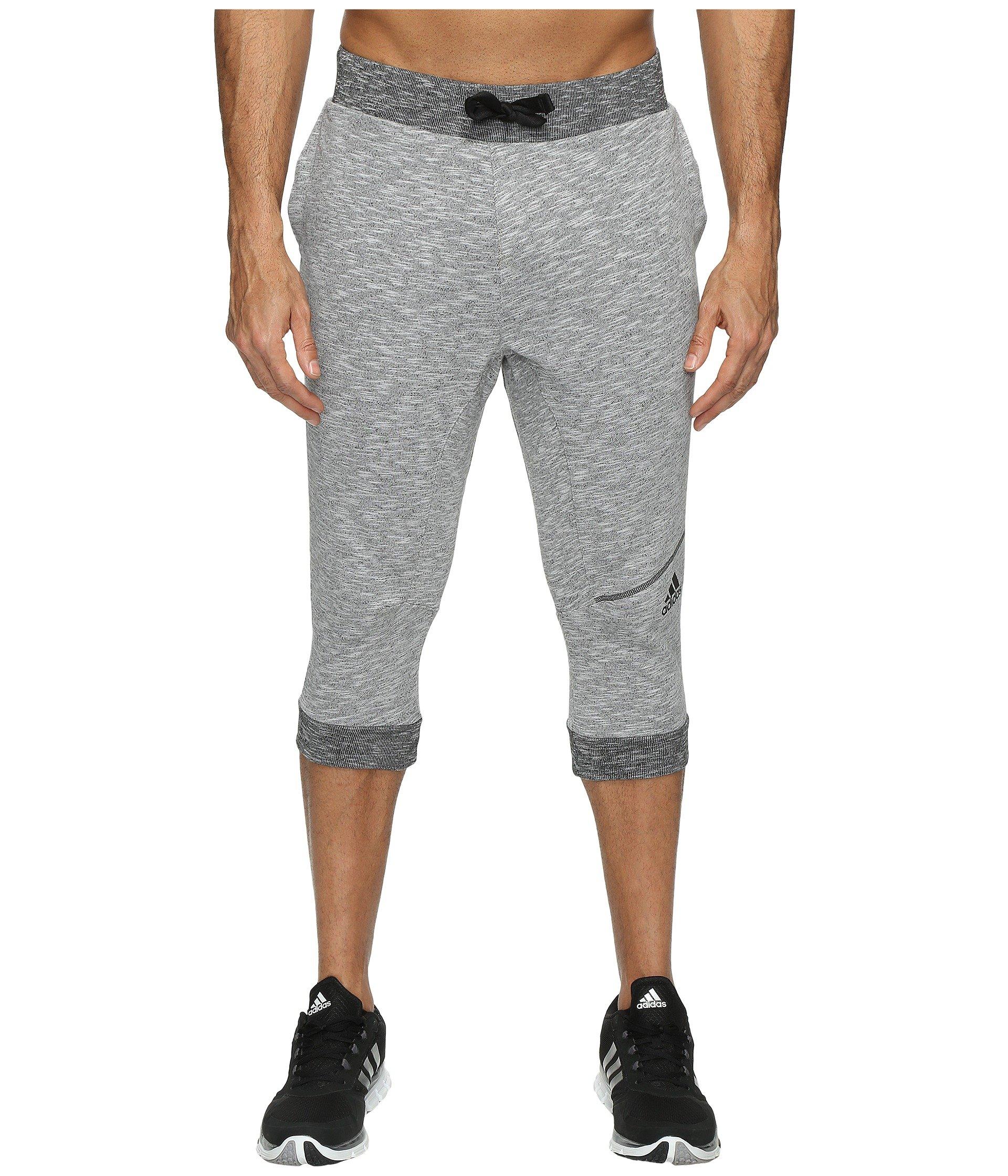 adidas Men's Basketball Cross Up 3/4 Pants, Light Grey Heather/Black, X-Large