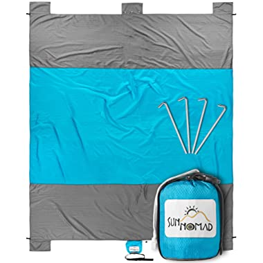 SUN NOMAD Ripstop Beach & Picnic Blanket - Super Sand Proof - XXL Oversized Family Mat - Cool Unique Present Idea, for Him, Her, Men, Women & Kids - Best Camping Present for Outdoor Lovers