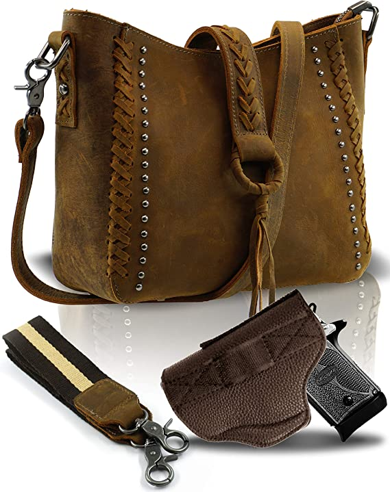 Small Genuine Cowhide Leather Concealed Carry Crossbody Purse for Women-Studded With Shoulder Strap and Holster