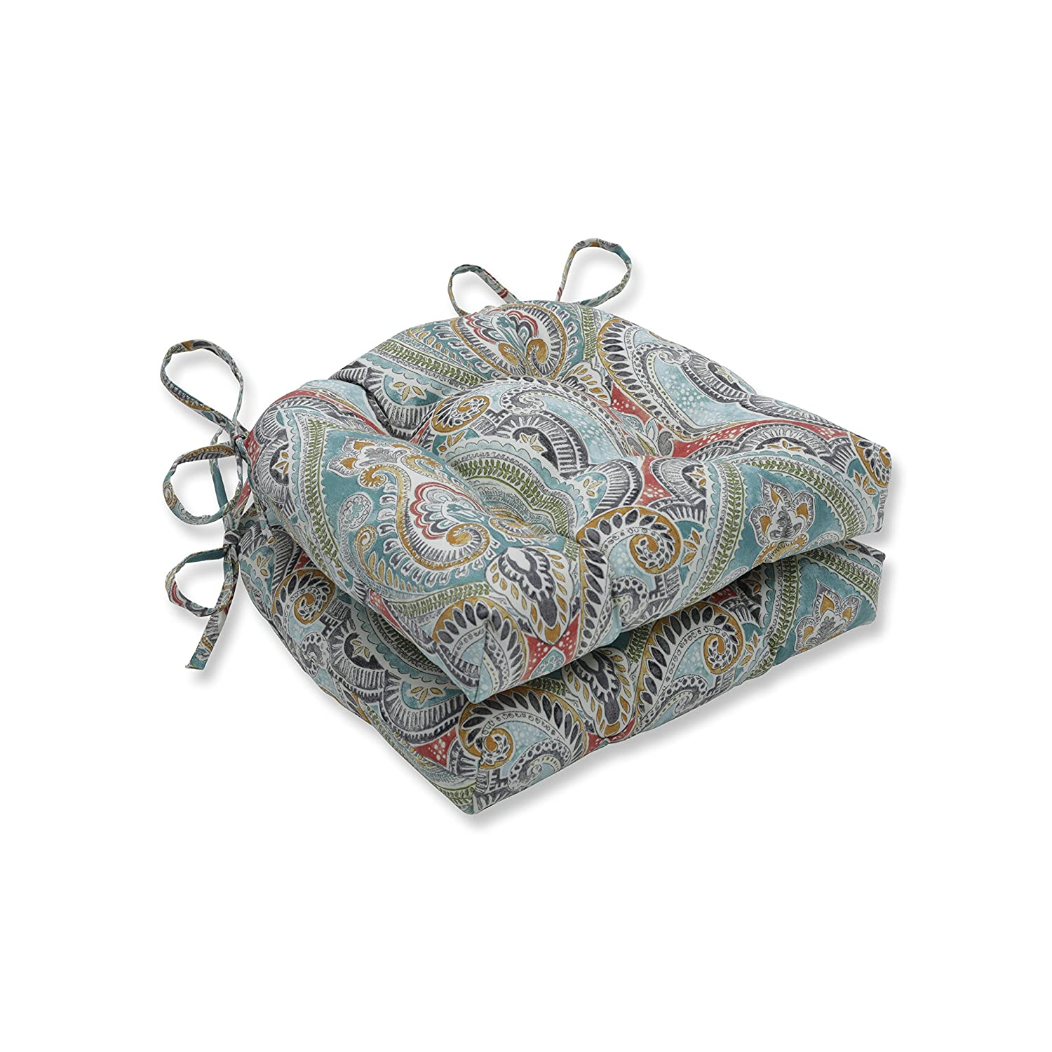 Pillow Perfect Outdoor   Indoor Pretty Witty Reef Reversible Chair Pad (Set of 2), Blue 16 X 15.5 X 4