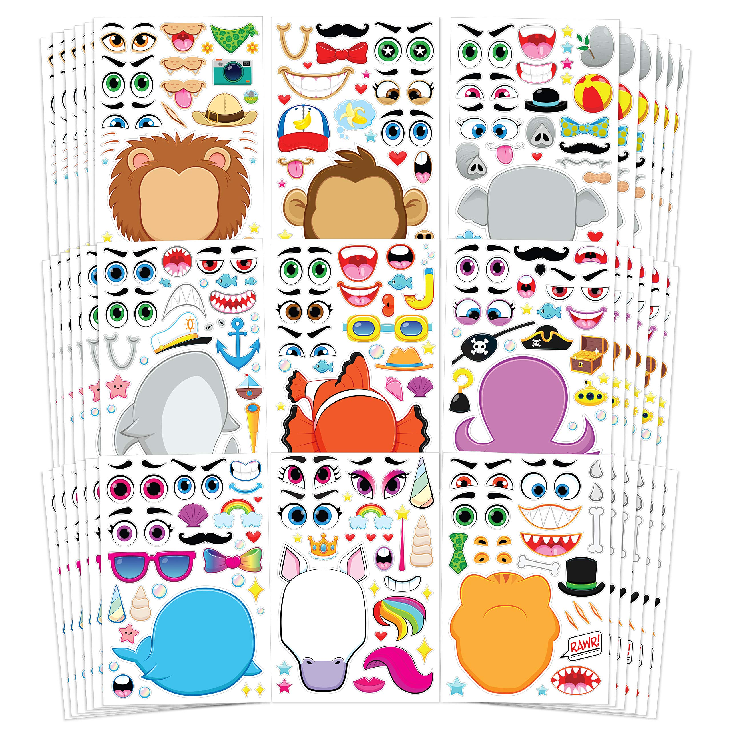 JOYIN 36 PCS Make-a-face Sticker Sheets Make Your Own Animal Mix and Match Sticker Sheets with Safaris, Sea and Fantasy Animals Kids Party Favor Supplies Craft by JOYIN