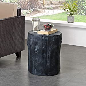FirsTime & Co. White Arbor Log Table, American Designed, Black, 15 inches (70231)