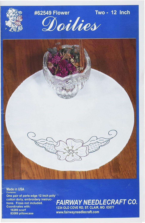 White Perle Edge Ribbons and Flower Design Fairway 16299 Dresser Scarf