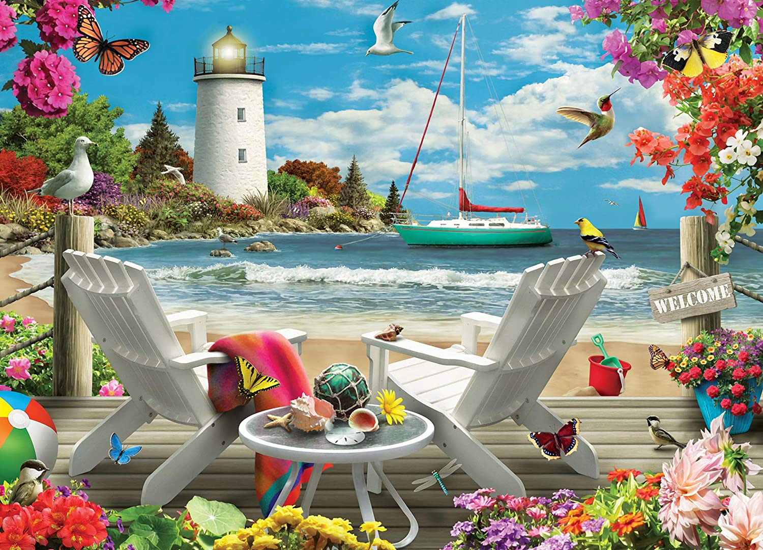 MasterPieces Memory Lane Coastal Escape Colorful Lighthouse 1000Piece Jigsaw Puzzle by Alan Giana