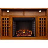Southern Enterprises SEI Narita Media Console with Electric Fireplace, Glazed Pine
