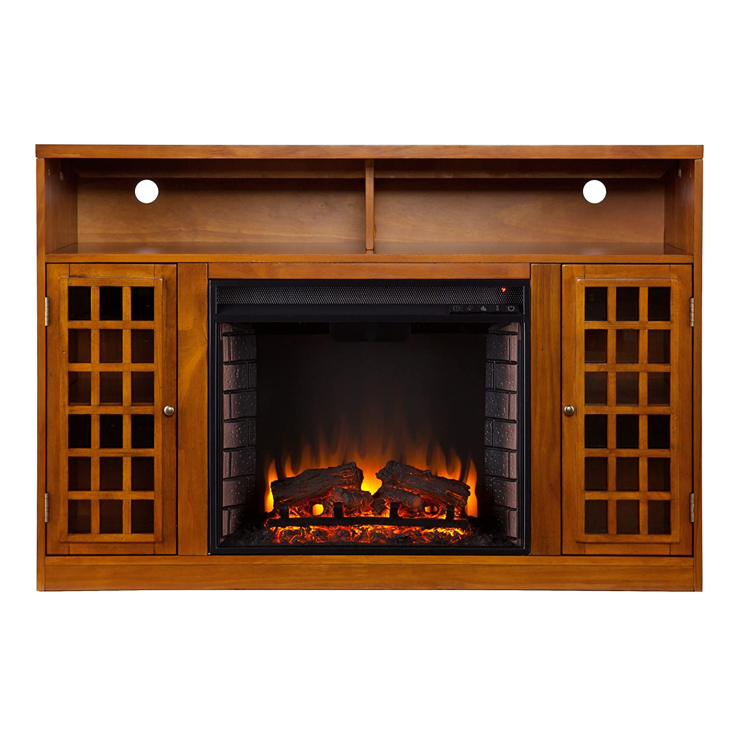 Narita Media Electric Fireplace Entertainment Center - Glazed Pine
