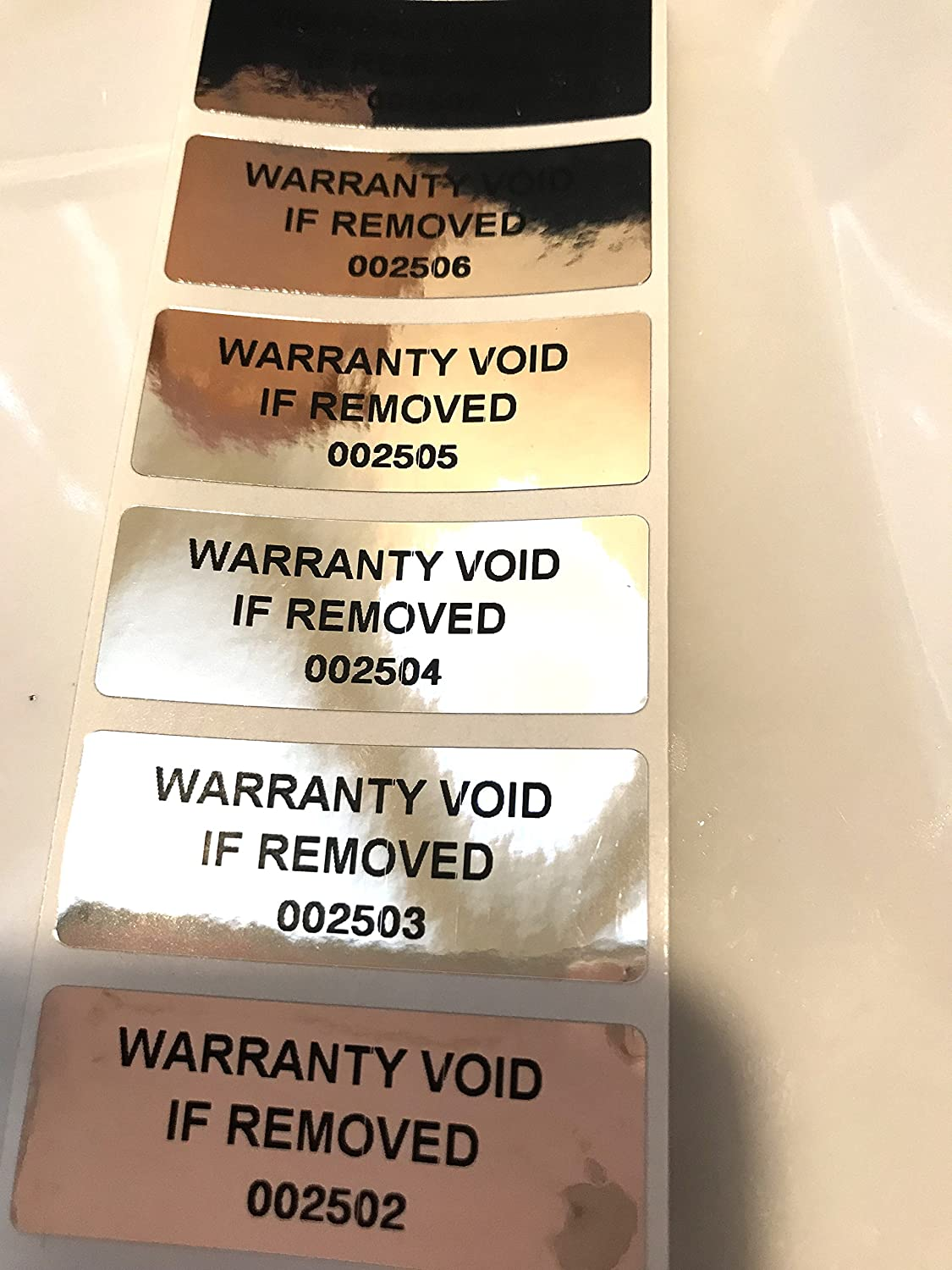 "1,000 Tamper Evident Foil Security Labels Sticker Seals""Warranty Void wenn Removed"" + Unique/Numbered, Rectangle 2"" X .75"" (51Mm X 19Mm)."