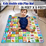 TIED RIBBONS Waterproof Double Side Baby Play Crawl Floor Mat for Kids Picnic School Home (Large Size -6 X 5 ft, Multicolour) with Zip Bag to Carry