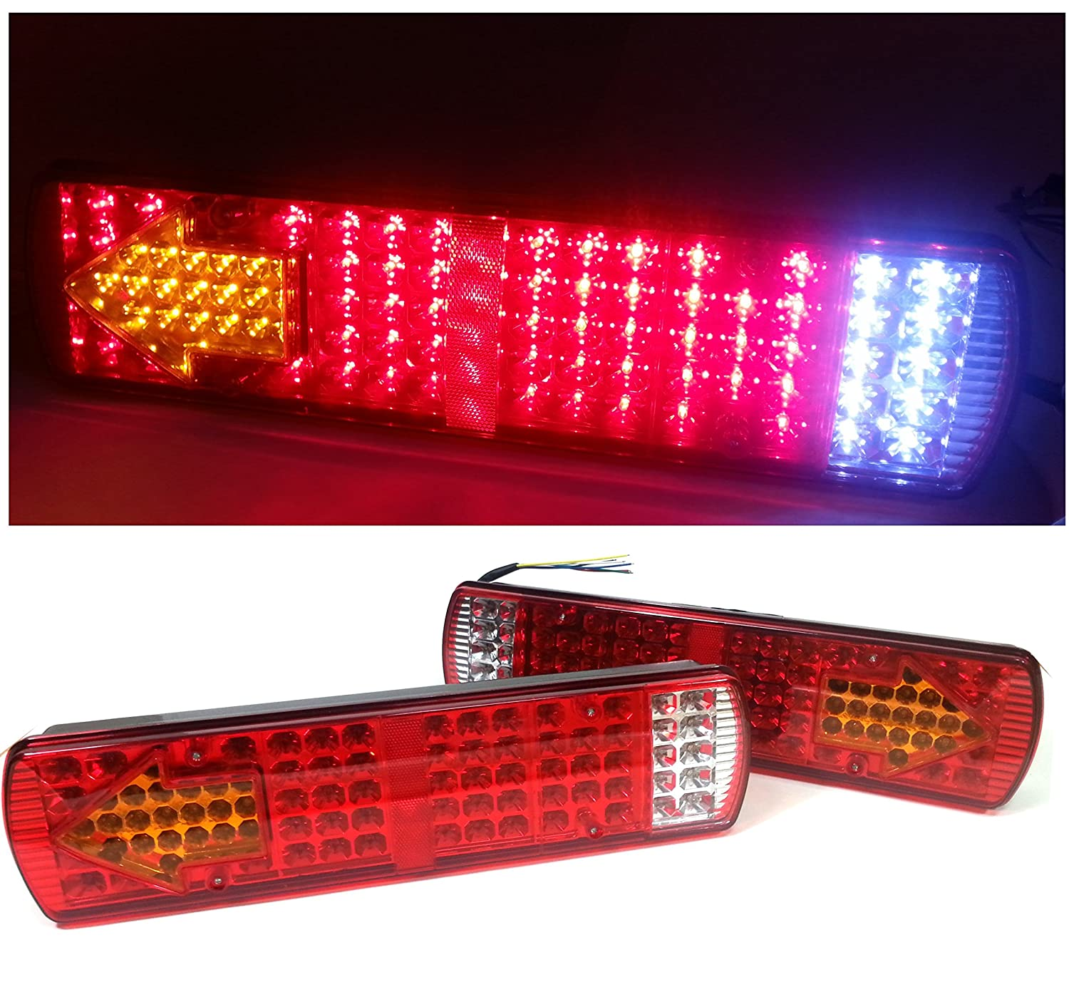 2 X PAIR OF 12V 84 LEDS LED MULTIFUNCTION STOP REVERSE TURN SIGNAL INDICATOR FOG REAR TAIL LIGHTS LAMPS FOR TRUCK TRAILER LORRY SHASSIS TIPPER CARAVAN MOTORHOMES CAMPER NONE