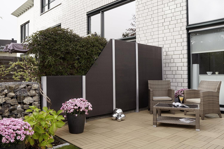 GARTENFREUDE Garten Zaun Sichtschutz Zäune Polyrattan 120 x 4 x