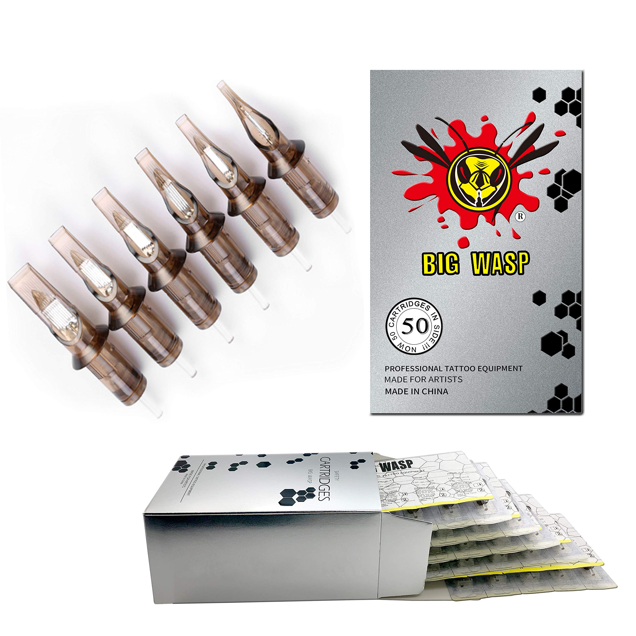 BIGWASP (3rd Gen) 50pcs Assorted Disposable Cartridge Tattoo Needles Curved Magnum Mixed 7RM 9RM 11RM 13RM 15RM (#12 Standard RM) by BIGWASP