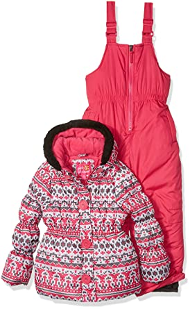 Amazon.com: Pink Platinum Girls' Fair Isle Print Snowsuit: Clothing