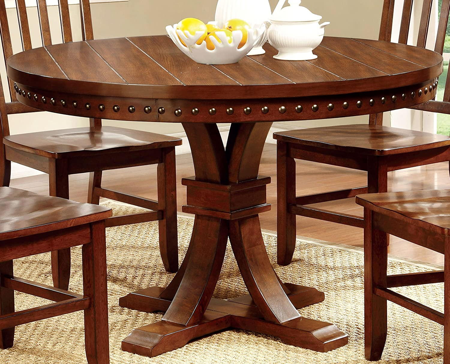 Amazon.com   Furniture Of America Castile Transitional Round Dining Table,  Dark Oak   Tables