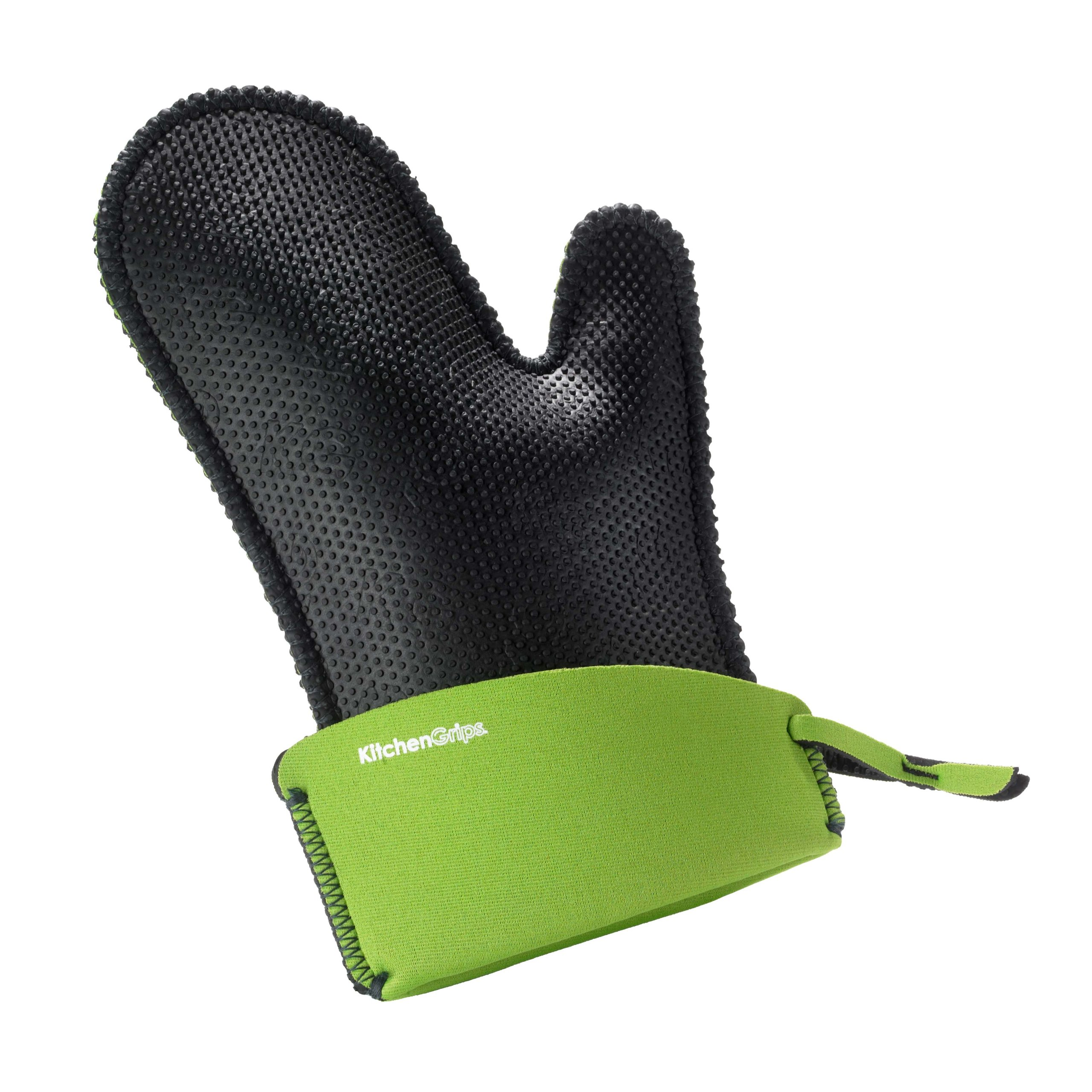 Kitchen Grips Chef's Mitt, Large, Black/Lime