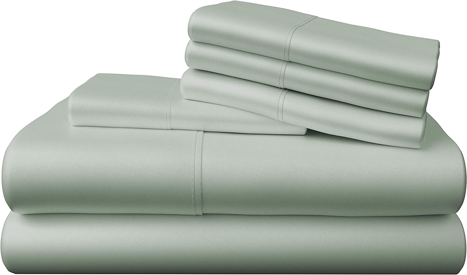 Bamboo Bay 6-Piece Bamboo Sheet Set - Soft as Eucalyptus Sheets (10 Colors) - Soft, Breathable & Cooling 100% Viscose from Bamboo - Extra Deep Pocket, No-Slip Fitted Sheet (Queen Size, Sage)