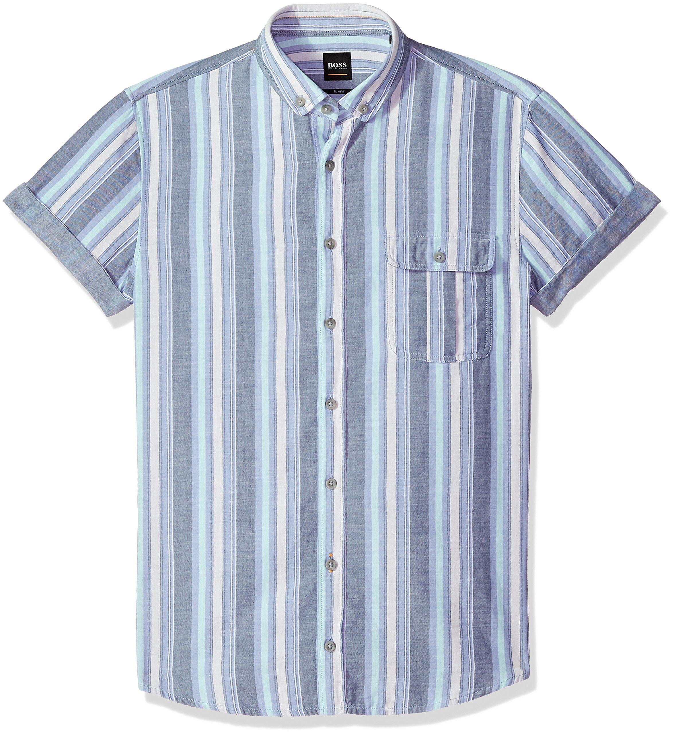 Hugo Boss Boss Orange Men's Striped Cotton Chambray Short Sleeve Woven, Blue, Medium