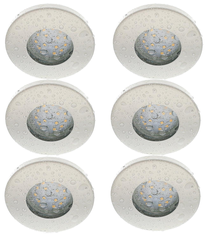 Trango Lot de 6/IP44/spot blanc bain//douche//Sauna avec 6/x GU10/6/W Ampoule LED 3000/K W-laqu/é blanc /& Culot Leuchten encastrable en acier inoxydable inoxydable tg6729ip 066 6/W