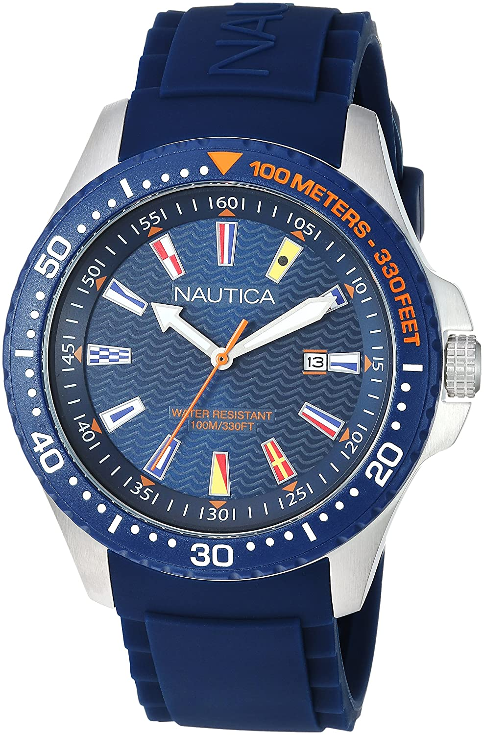 Amazon.com: Nautica Mens Jones Beach Collection Japanese-Quartz Watch with Silicone Strap, Blue, 21.5 (Model: NAPJBC002: Watches