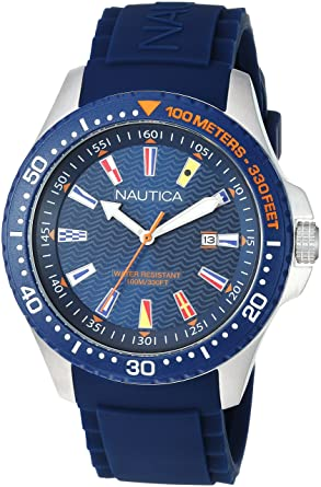 Nautica Mens Jones Beach Collection Japanese-Quartz Watch with Silicone Strap, Blue, 21.5
