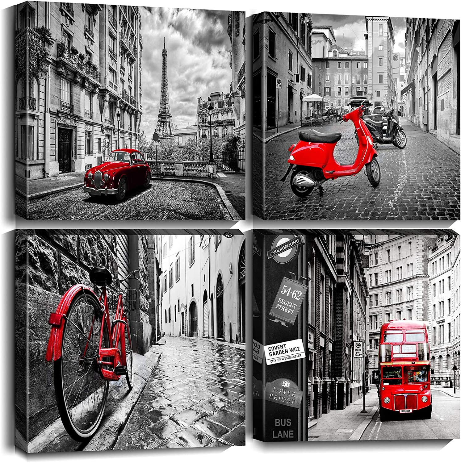 Black White Red Bus Motorcycle Wall Art Canvas Pictures Cityscape London Eiffel Tower Print Painting Street City View Artwork for Bedroom Living Room Decoration
