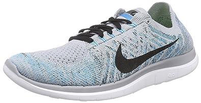 Nike Mens Free Flyknit 4.0 Running Shoes WOLF GREY/BLACK-BL LAGOON-WHT