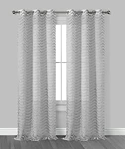 "Dainty Home Claire 3 Dimensional Grommet Window Curtain Panel Pair with Surface Fringe, 38"" x 96"" (76"" x 96'' Total), Silver Grey"