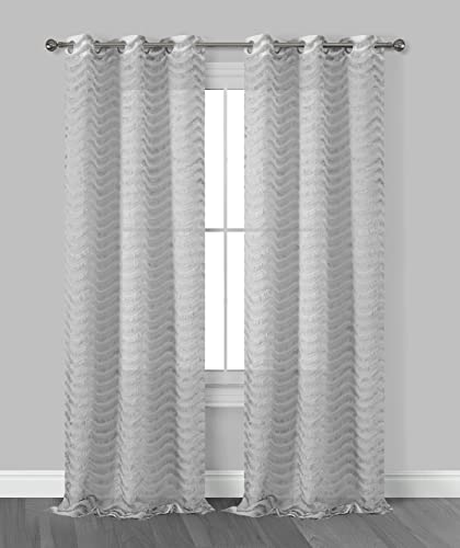 Dainty Home Claire 3 Dimensional Grommet Window Curtain Panel Pair with Surface Fringe, 38 x 96 76 x 96 Total , Silver Grey