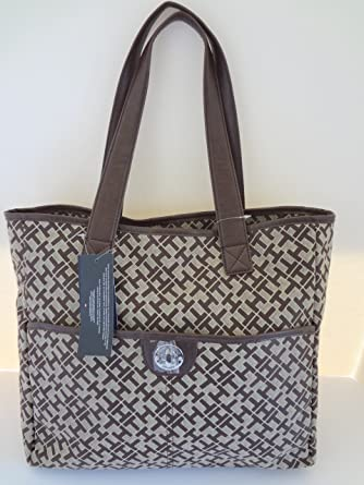 Tommy Hilfiger Womens Large Tote Handbag Black Alpaca