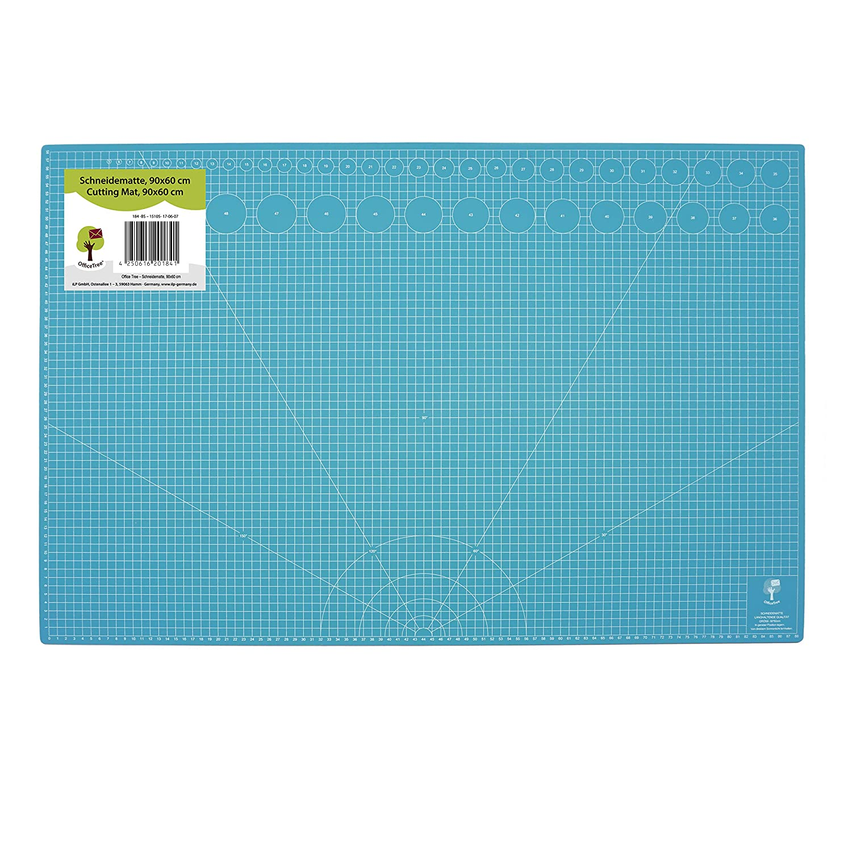 OfficeTree® Schneidematte Cutting Mat - 90x60 cm (A1) blau - beidseitig Raster und Markierungen für professionelle Schnitte - PVC 5-lagig recycelbar - selbstheilende Oberfläche - Premium-Qualität iLP GmbH