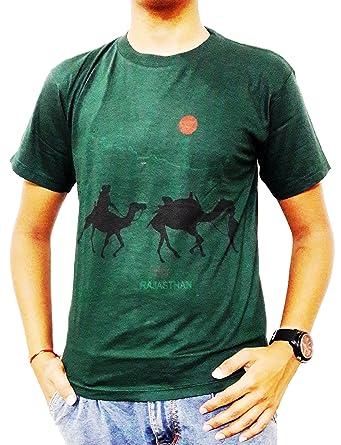 ee2337e950af GUNEE Rajasthani 100% Cotton Round Neck Half Sleeves Camel Printed T-Shirt  (Green