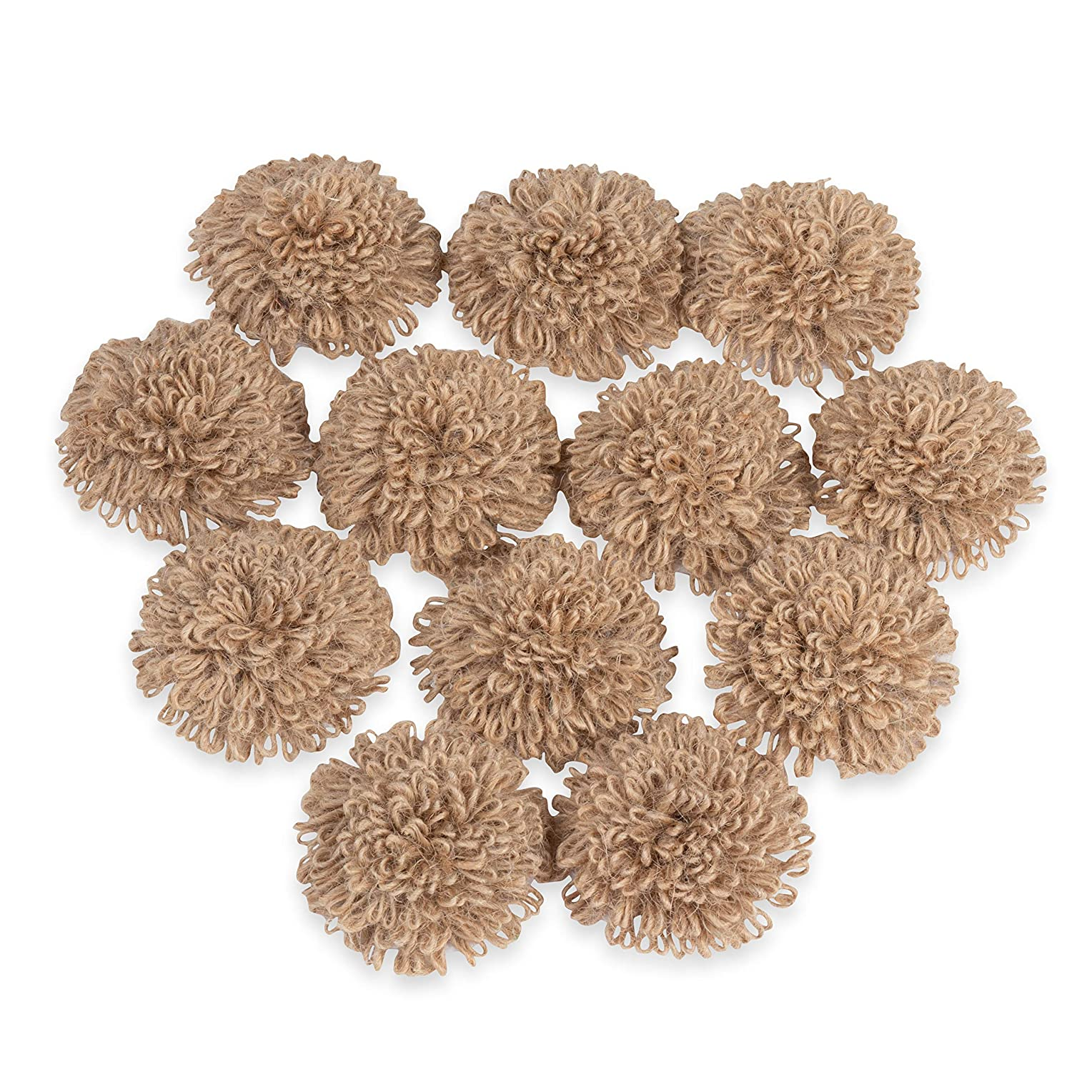 Juvale 12-Pack Lace Burlap 2.2-Inch Fabric Flower Embellishments for Craft, DIY Wedding Decorations, and Floral Ornaments