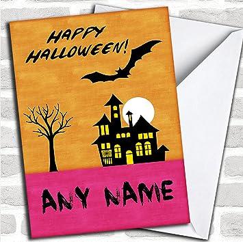 Orange Horror Haus Halloween Karte Mit Umschlag Kann Vollständig
