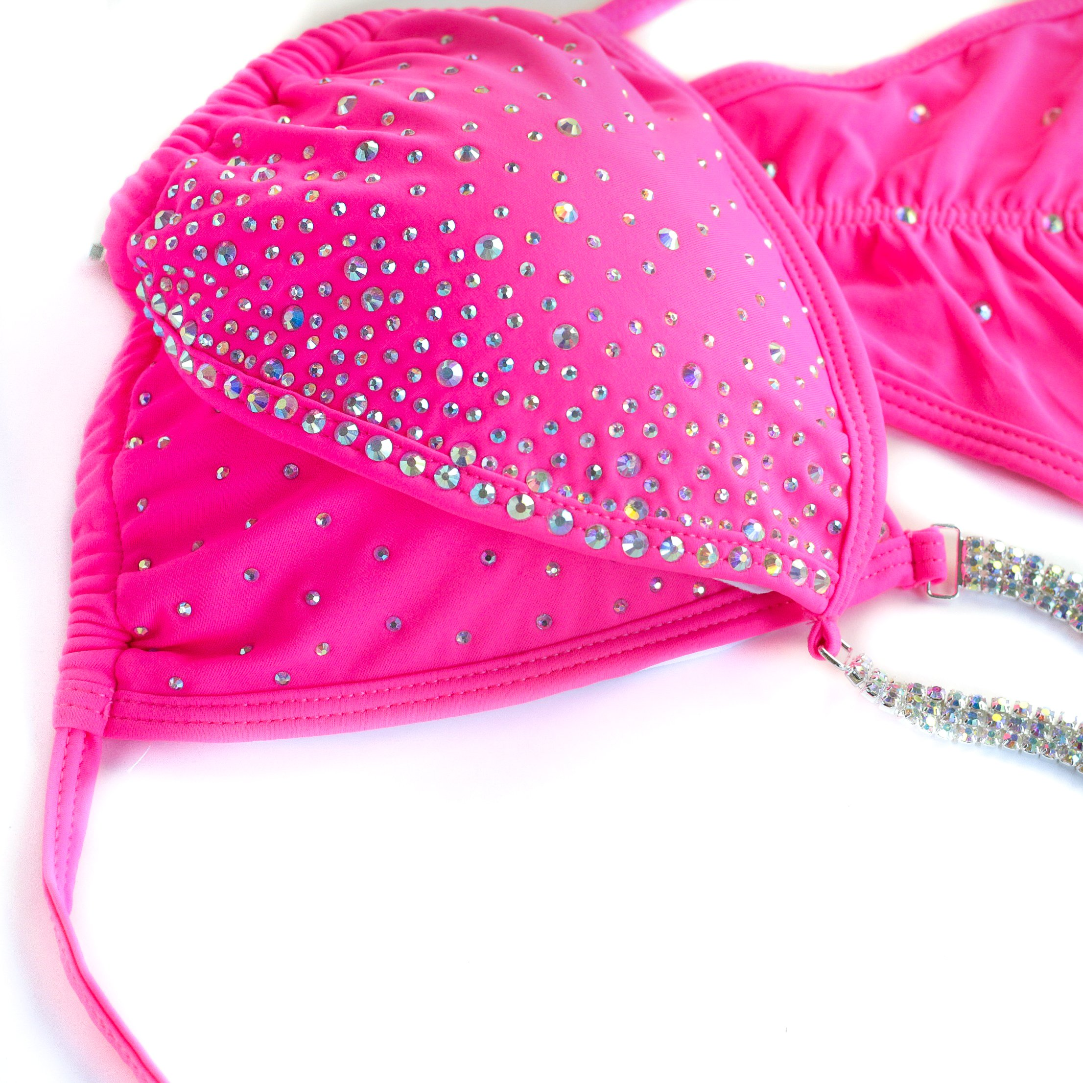 Vicky Ross Fit Competition Bikini Suit NPC IFBB WBFF For Women by With Rhinestone Connectors | Brazilian Scrunch |Pink ((M) B-C-D/Hips 37''-38'' (Cup Dimensions W 7.5''; H) by Vicky Ross Fit (Image #3)