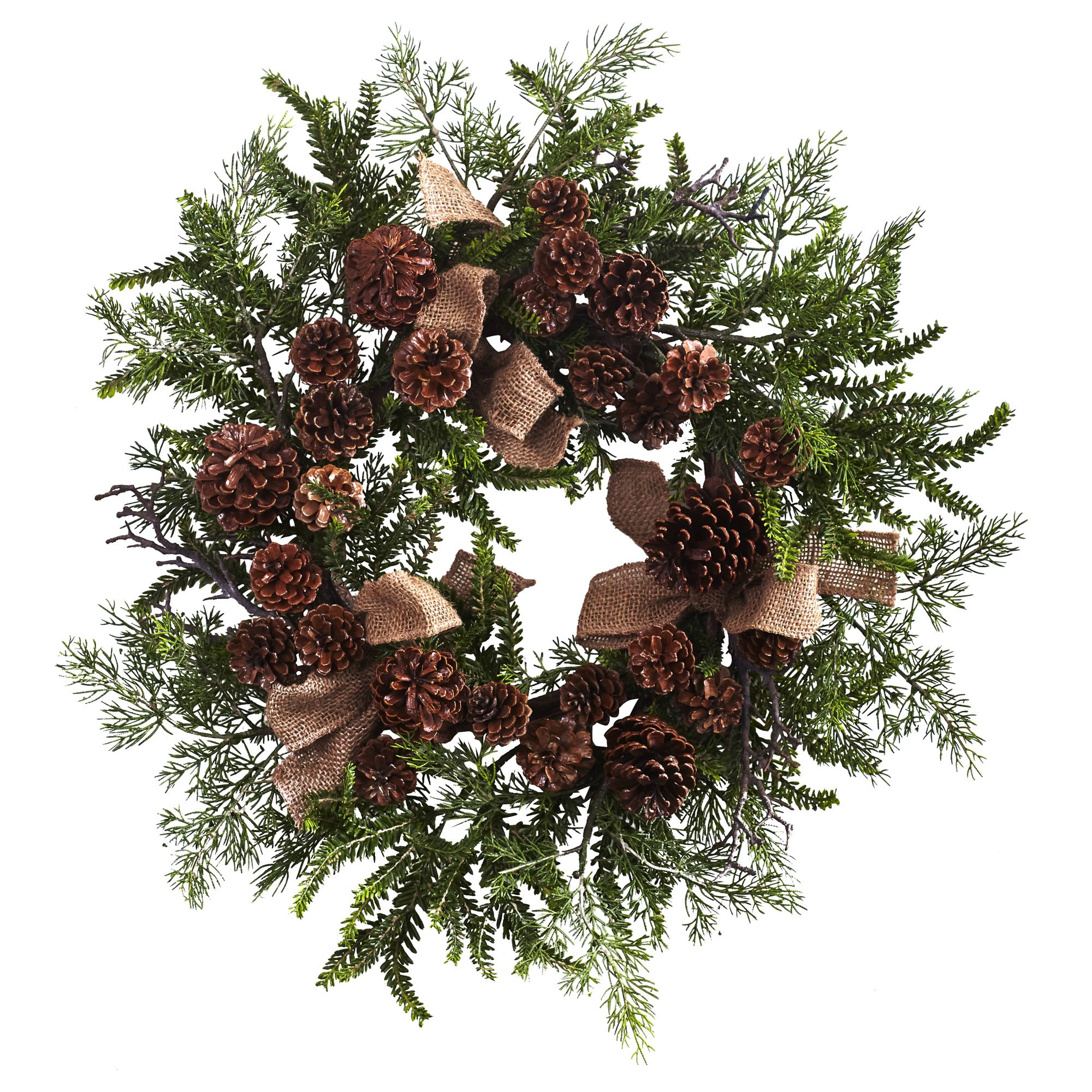 Nearly Natural Pine & Pine Cone Wreath with Burlap Bows, 24'', Green/Brown