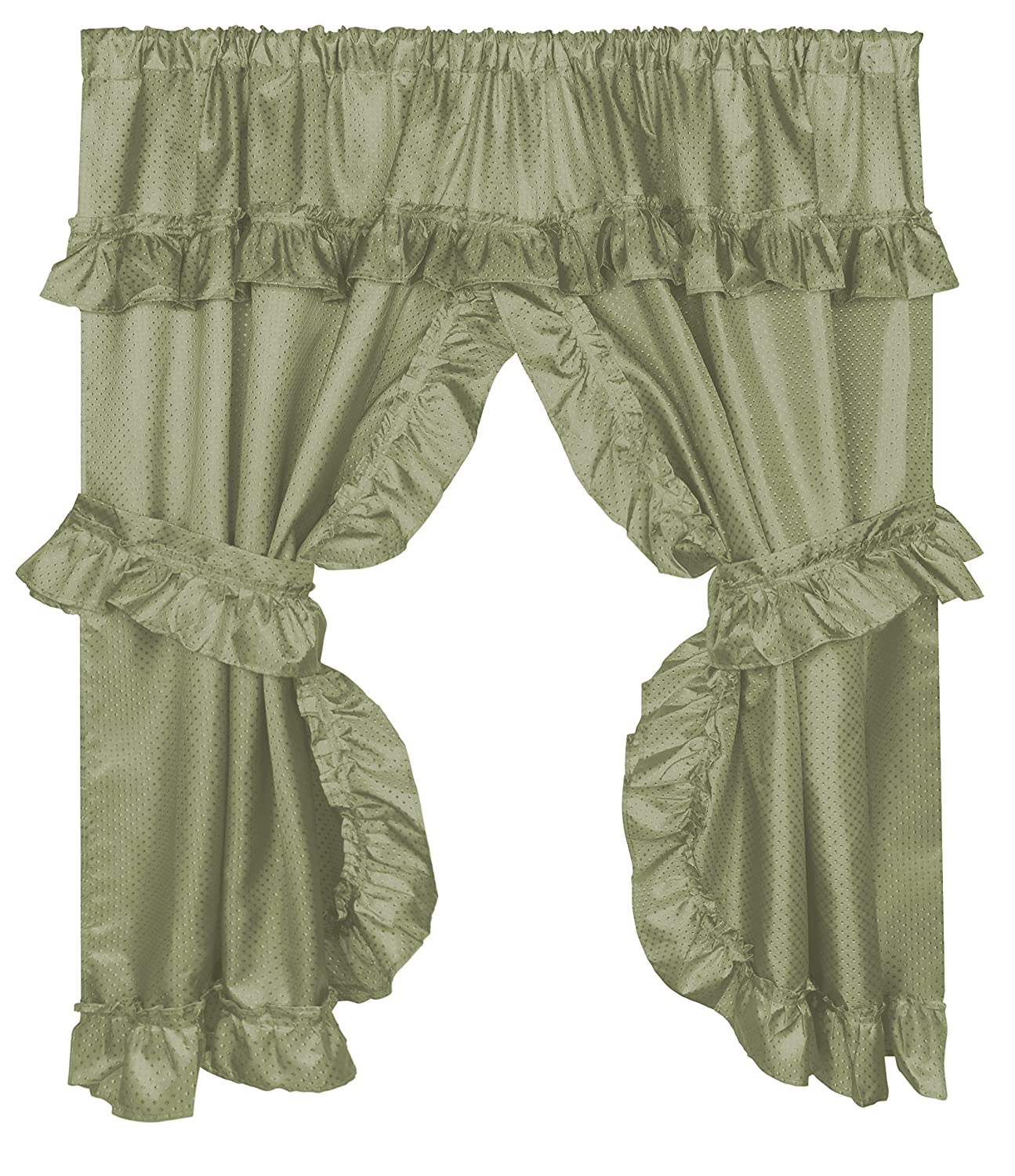 Carnation Home Fashions FWCD-L/42 Lauren Curtain with Ruffled Valance, Sage